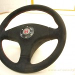 Honda steering wheel covered in Alcantara